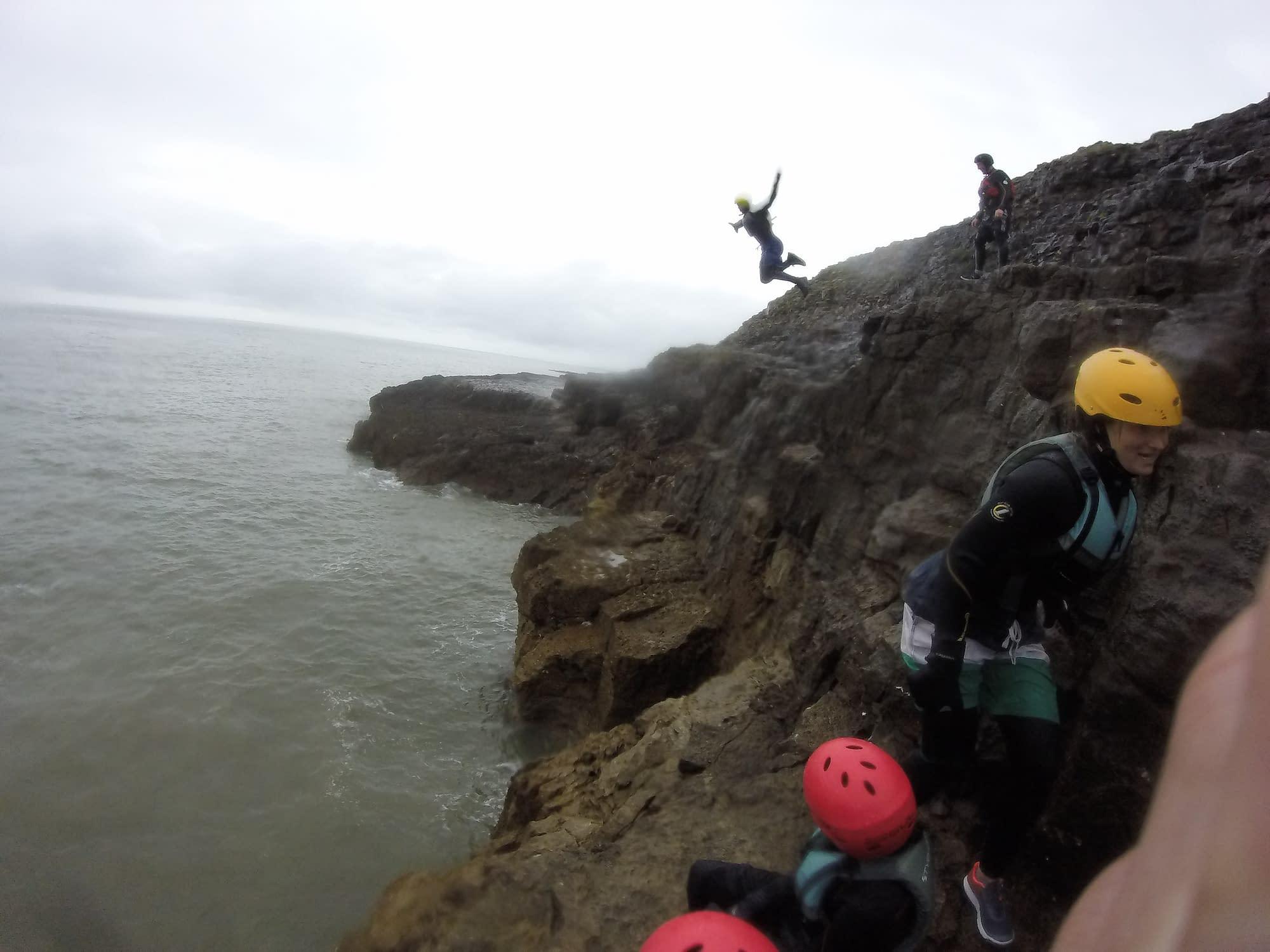 Leap of faith on the South Wales coast near Swansea