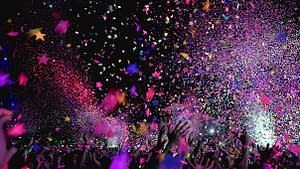 Confetti raining down during Hen Party in Porthcawl