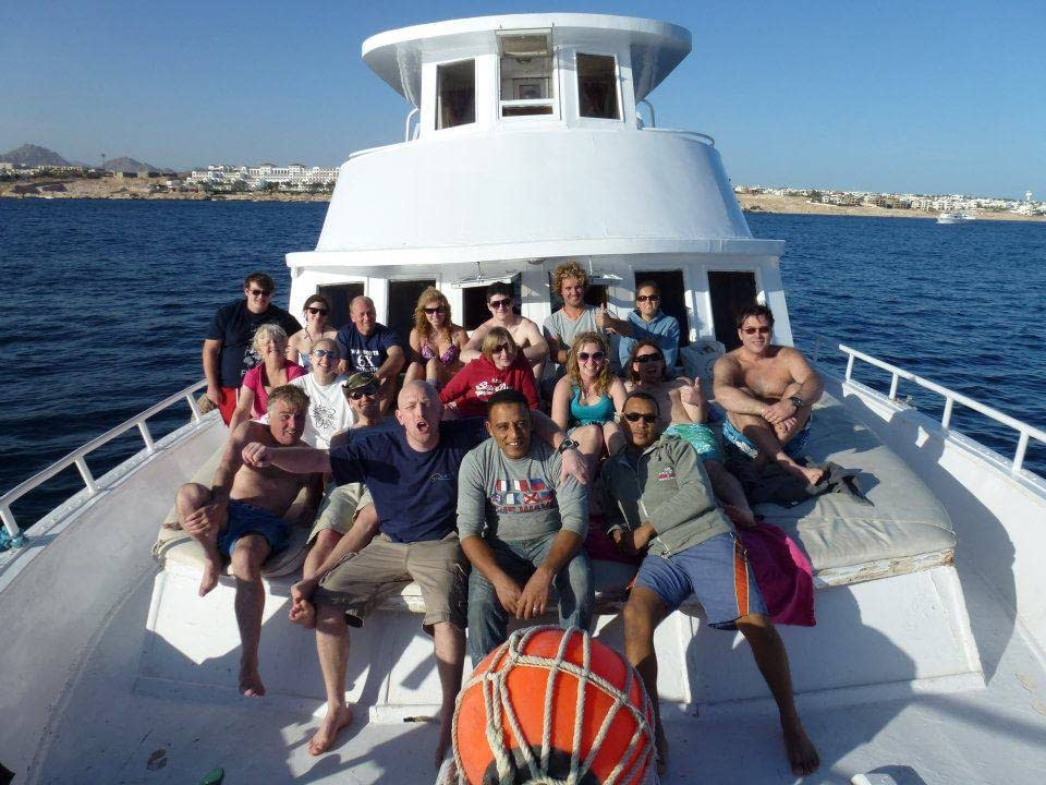 Group on a boat during a diving trip to Spain